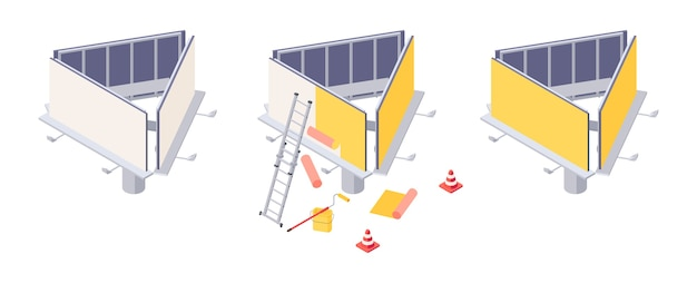 Монтаж афиши изометрической формы с различными этапами наклеивания рекламы на большой город. изометрический рекламный щит с лестницей, ковшом и роликом для установки наружной рекламы.