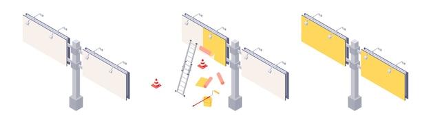 Монтаж афиши изометрической формы с различными этапами наклеивания рекламы на большой городской баннер.