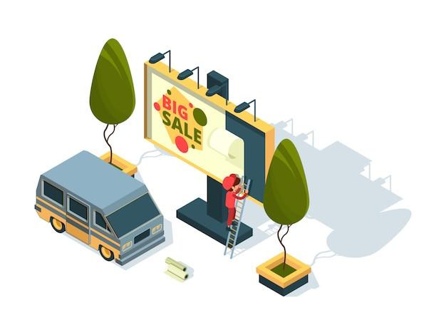 빌보드 아이소 메트릭. 광고 설치 빈 보드 및 작업 기계 야외 준비 그림 개념