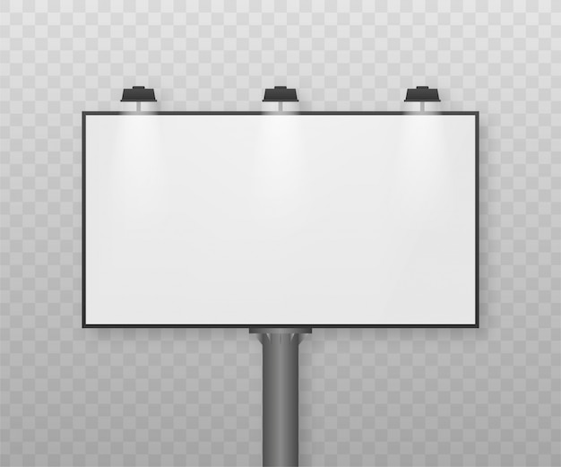 Billboard on light background. empty white  horizontal poster template. template for marketing .   illustration.