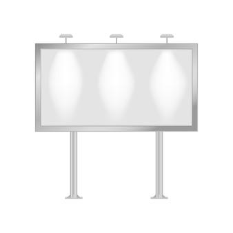Макет рекламного щита. пустой горизонтальный стенд для наружной рекламы. векторная иллюстрация.