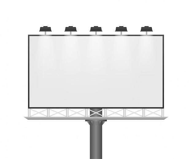 Рекламный щит на светлом фоне. шаблон пустой белый горизонтальный плакат. шаблон для маркетинга. иллюстрации.