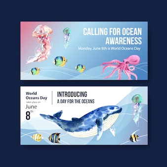 海洋動物の水彩ベクトルと世界海洋デーのコンセプトの看板テンプレートデザイン