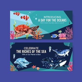 Progettazione del modello del tabellone per le affissioni per il concetto di giornata mondiale degli oceani con il vettore dell'acquerello degli animali marini