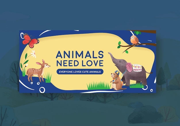 Billboard template with happy animals concept  watercolor illustration
