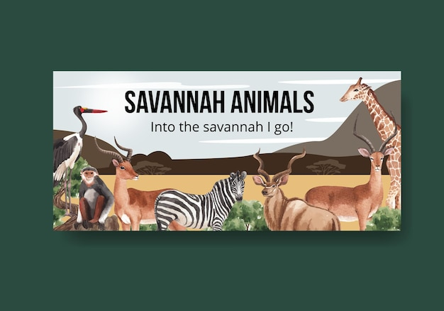 Шаблон рекламного щита с акварельной иллюстрацией концепции дикой природы саванны
