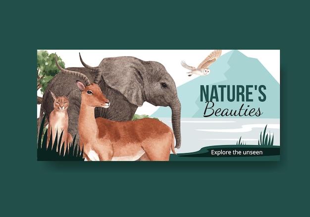 사바나 야생 동물 개념 수채화 일러스트와 함께 빌보드 템플릿