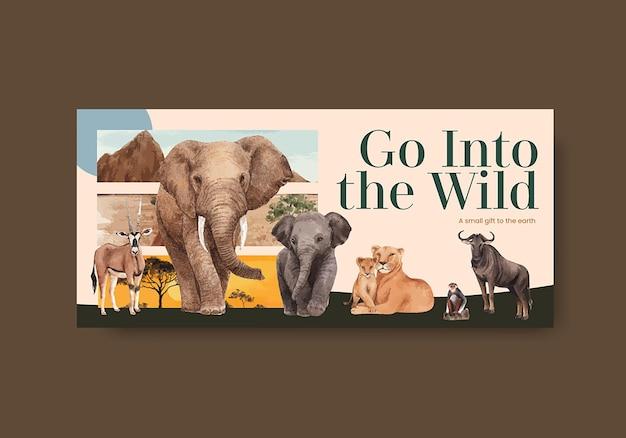 サバンナ野生動物の概念の水彩イラストと看板テンプレート