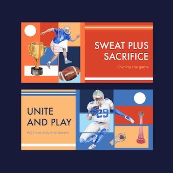 Modello di tabellone per le affissioni con super bowl sport concept design per pubblicizzare e marketing illustrazione vettoriale acquerello.