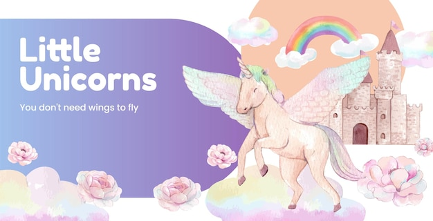 Billboard template with unicorn in watercolor style