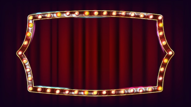Ретро billboard вектор. сияющий свет доска объявлений. реалистичная рамка светильника блеска. урожай золотой неоновой подсветкой. карнавал, цирк, казино стиль. иллюстрация