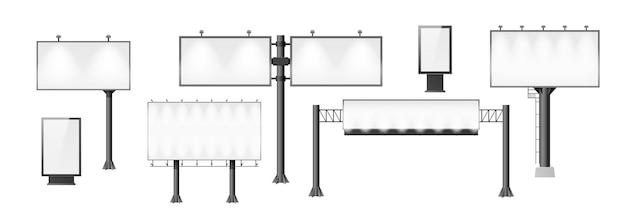 Набор рекламных щитов. различный рекламный макет, пустая вывеска пустая конструкция для наружной уличной рекламы. вертикальные и горизонтальные баннеры. 3d векторные иллюстрации