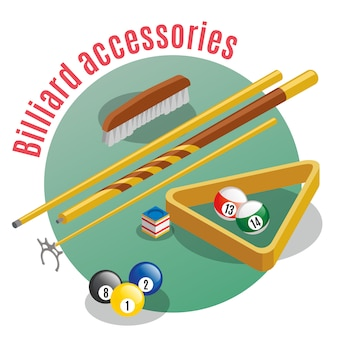 Billiard accessories isometric  with editable text and closeup view of lucky balls sticks and table