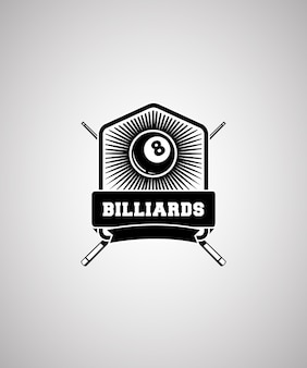 Billiard badge logo design template