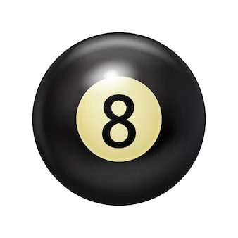 Billiard ball, black color with the number eight. pool game.