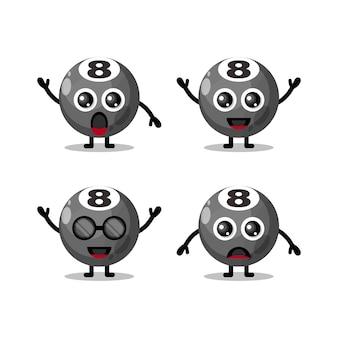 Billiard ball cute character logo