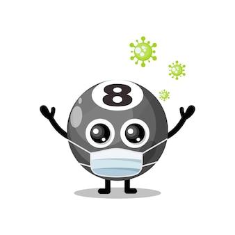 Billiard ball mask virus cute character mascot