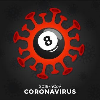 Бильярдный шар осторожно, коронавирус. остановить вспышку ковид-19. опасность коронавируса и риска для здоровья населения и вспышки гриппа. отмена концепции спортивных мероприятий и матчей