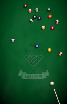 Billiard balls and cue on green cloth