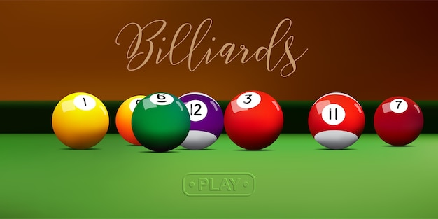 Billiard balls on green table.