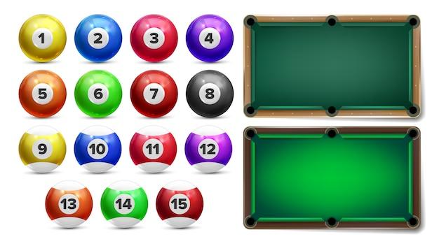 Бильярдные шары с цифрами и стол