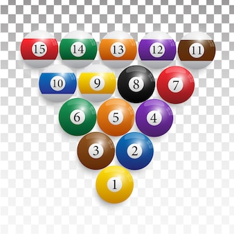 Billiard balls in a wooden rack.