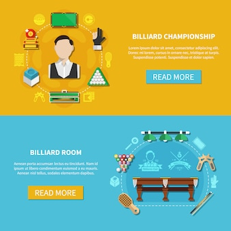 Billiard championship horizontal banners