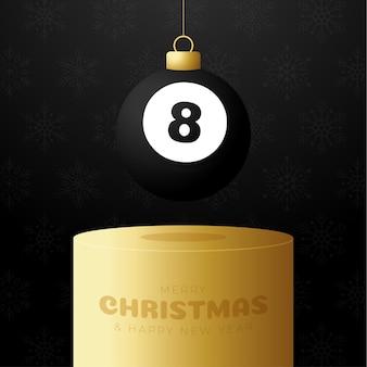 Billiard christmas bauble pedestal. merry christmas sport greeting card. hang on a thread billiard ball as a xmas ball on golden podium on black background. sport vector illustration.