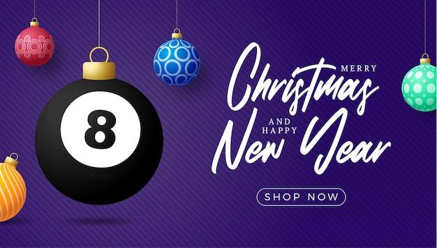 Billiard christmas card. merry christmas sport greeting card. hang on a thread billiard ball as a xmas ball and colorful bauble on purple horizontal background. sport vector illustration.