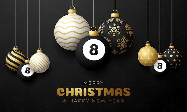 Billiard christmas card. merry christmas sport greeting card. hang on a thread billiard ball as a xmas ball and golden bauble on black horizontal background. sport vector illustration.