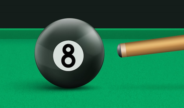Billiard eight ball and cue on green cloth table