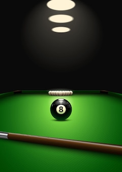 Бильярдная игра. шары и очередь на бильярдном столе.