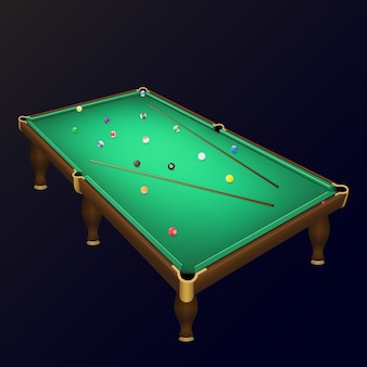 Billiard game balls position on a realistic pool table with cues.
