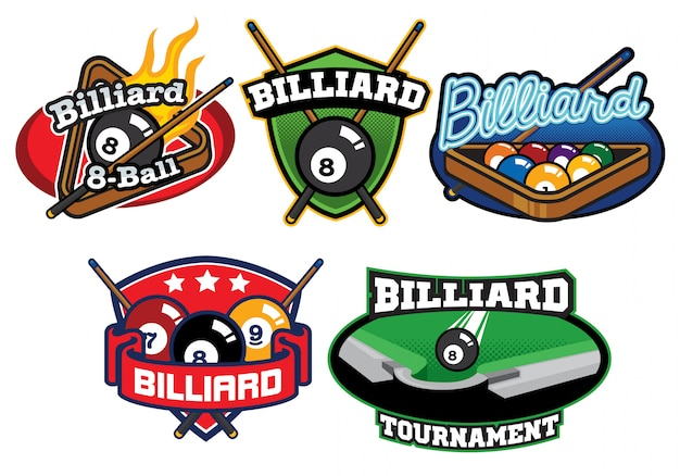 Billiard logo design set
