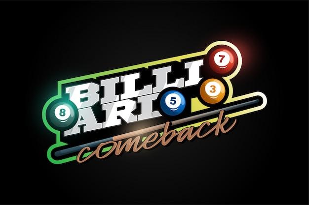 Billiard mascot modern professional sport typography in retro style.