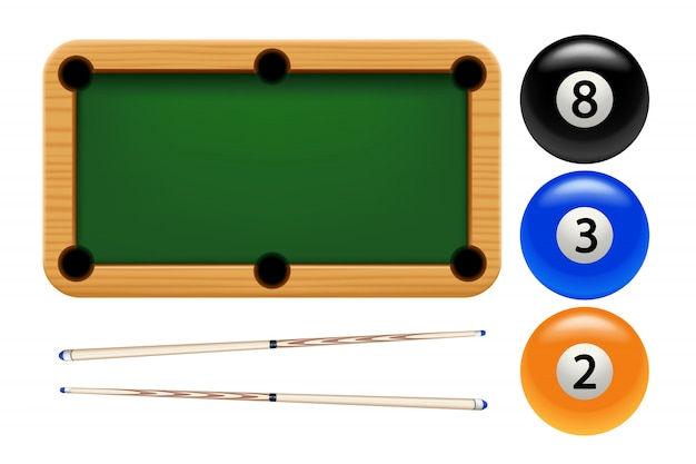 Billiard set on white