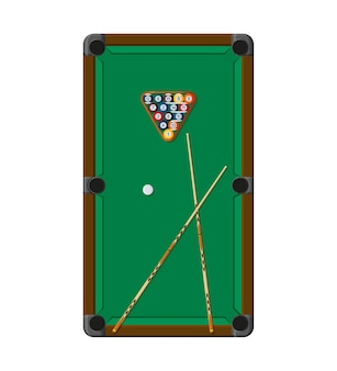 Billiard or snoker background. pool table, balls and cue stick