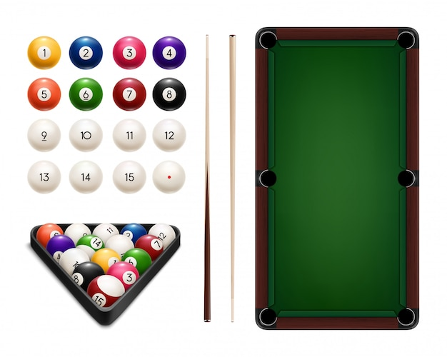 Billiard sport realistic balls, cues, table, rack