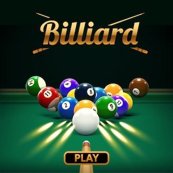 Billiard table front view balls sport theme