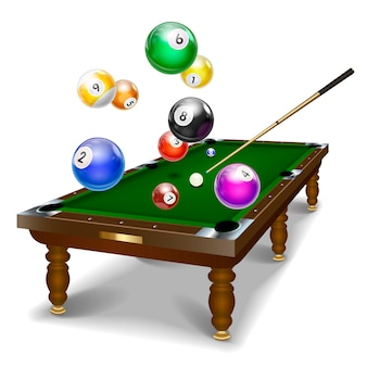 Billiard table, front view isolated white background