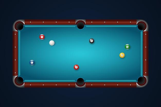 ボール上面図のビリヤードテーブル
