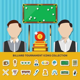 Billiard tournament icons collection