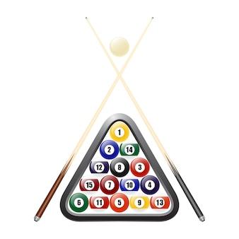 Бильярдные шары, треугольник и два кия. изолированные на белом.