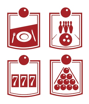 Billiards and bowling set icon. vector flat illustration.