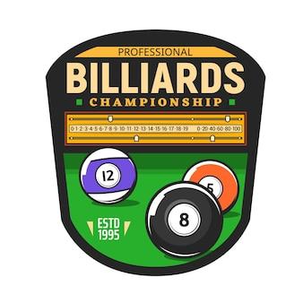 Billiards championship icon, snooker pool sport