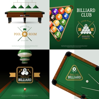 Billiards concept icons set