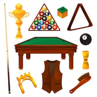 Billiards equipment or game tools realistic set