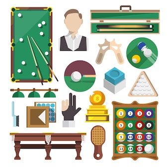 Billiards icons flat
