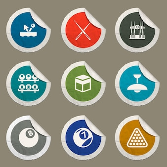 Billiards icons set for web sites and user interface