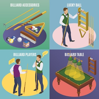 Billiards isometric 2x2 concept with editable text and images of billiard accessories with lucky balls